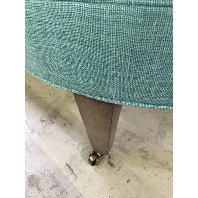 crate barrel teal blue ottoman chairish. Black Bedroom Furniture Sets. Home Design Ideas