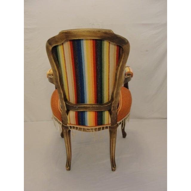 Bergere Chair Custom Upholstered in Serape - Image 5 of 8
