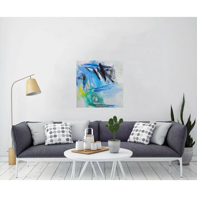 "Trixie Pitts' Abstract Painting ""Night Fishing"" - Image 2 of 6"