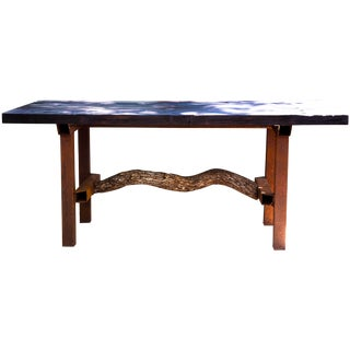 Modern Organic Reclaimed Yakisugi Wood Dining Island Table