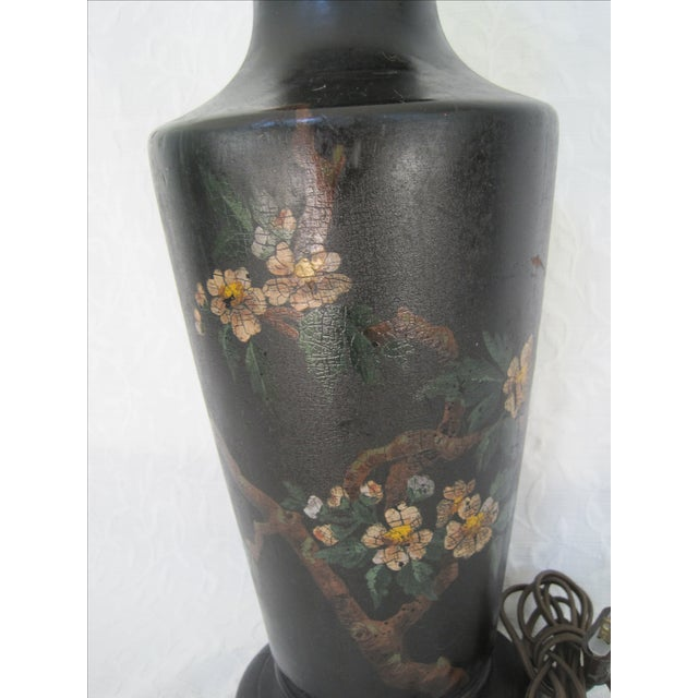 Art Deco Hand Painted Bird & Cherry Blossom Lamp - Image 3 of 8