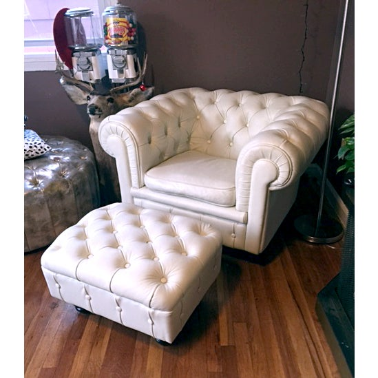 Faux Leather Tufted Armchair - Image 3 of 5