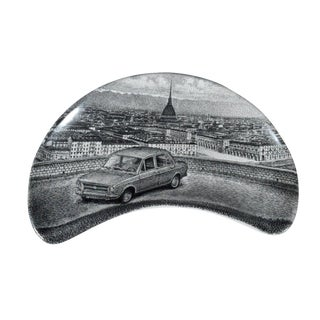 Set of 6 Piero Fornasetti Demilune Porcelain Dishes with cars & Turin, Made for Fiat