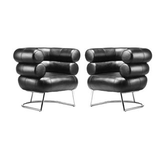 Eileen Grey Black Leather Bibendum Chairs - A Pair