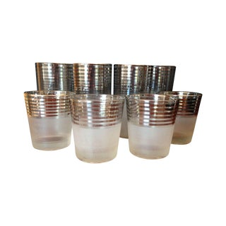 Mid-Century Silver Stripe Frosted Glasses - 8