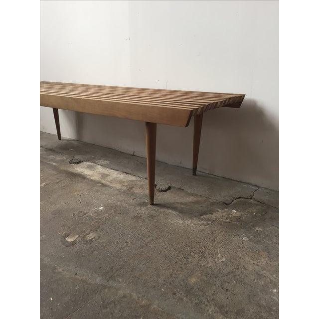 Mid-Century Yugoslavian Slat Bench With Peg Legs - Image 8 of 11