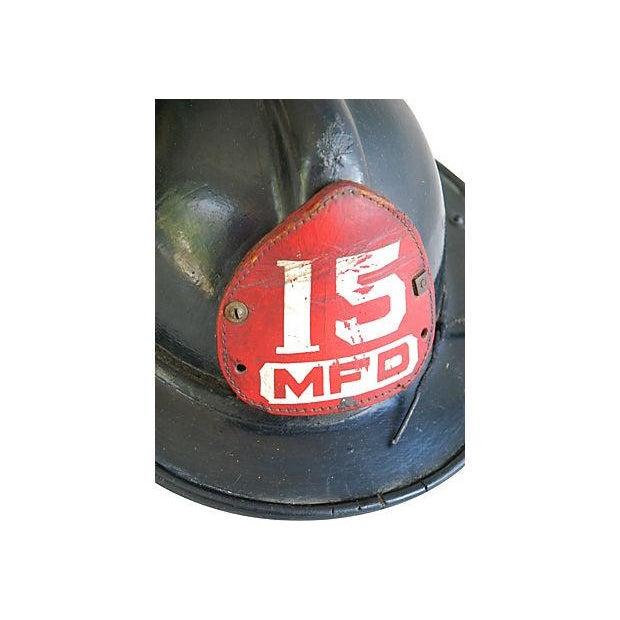 Original Leather Fireman Helmet w/Badge - Image 4 of 7