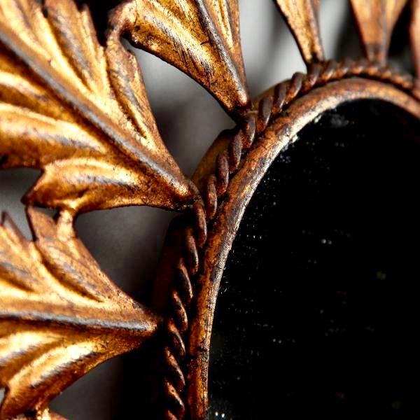 Mid-Century Italian Gilt Metal Sunburst Wall Mirror - Image 7 of 7