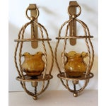 Image of Mid-Century Twisted Metal Candle Sconces - A Pair
