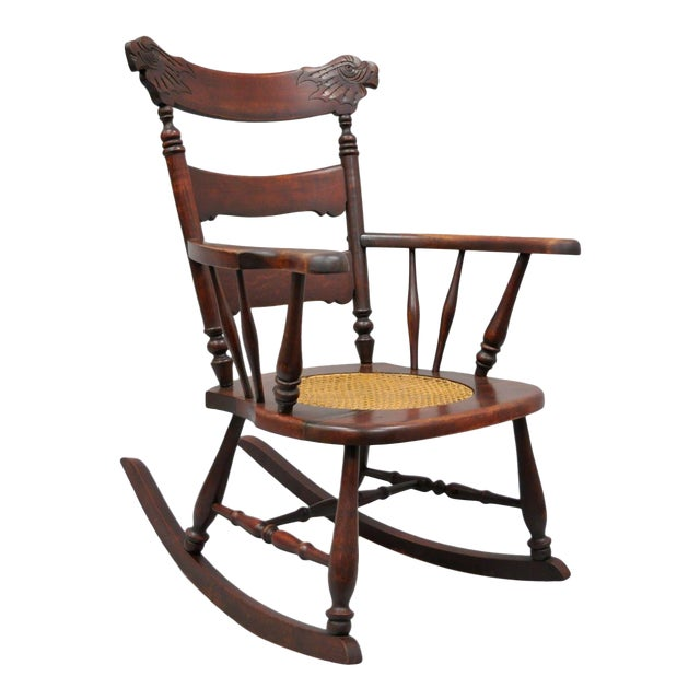 Antique Victorian Figural Carved Mahogany Cane Seat Eagle Rocking Chair Rocker - Image 1 of 10