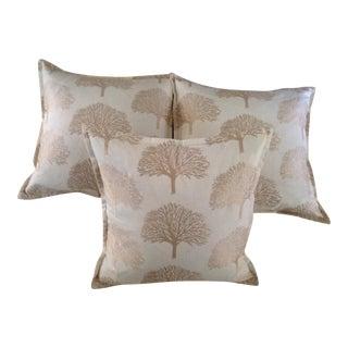 Custom Beige & Gold Pillows - Set of 3