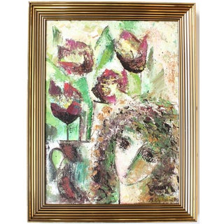 Vintage Abstract Floral Portrait Painting