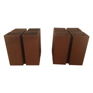 Bronze 4 Cube Lightolier Flush Mount - Pair