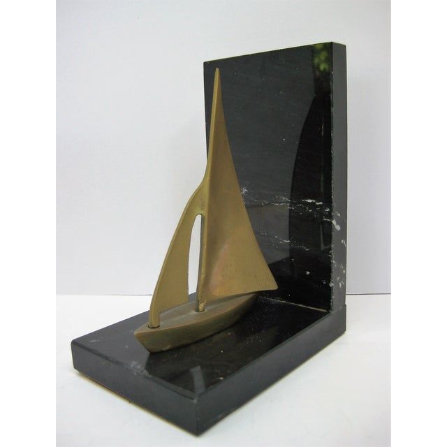 Mid-Century Brass Sailboat Bookends - Pair - Image 7 of 9