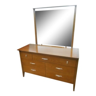Mid-Century Modern Drexel Profile 7 Drawer Chiffonier with Mirror