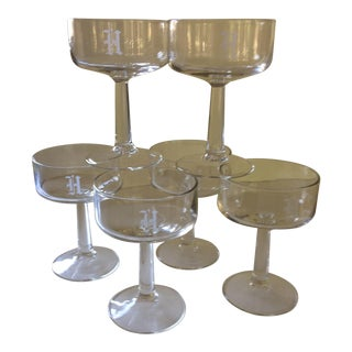 """""""H"""" Etched Crystal Champagne Glasses - Set of 6"""