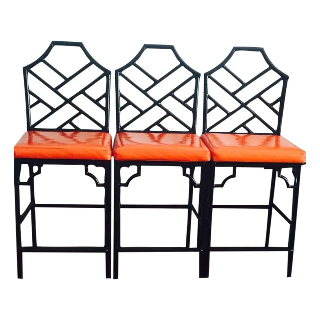 Chinese Chippendale Bar Stools - 3 - Image 1 of 5