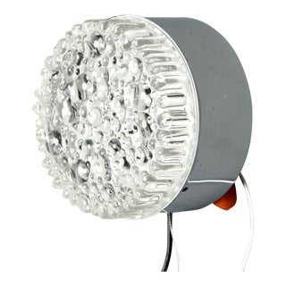 Mid-Century Round Molded Bubble Glass Wall or Ceiling Light