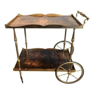 Aldo Tura Goatskin & Brass Bar Cart