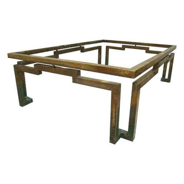 Image of Arturo Pani Rectangular Coffee Table in Brass