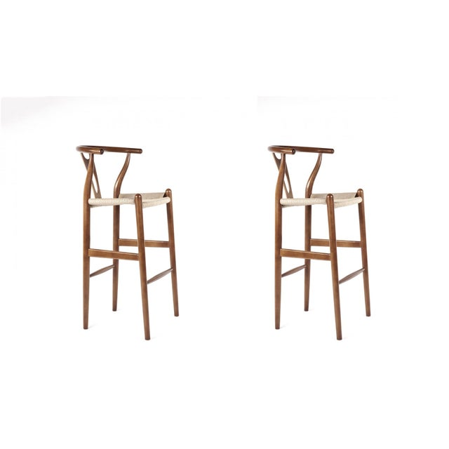 France & Son Walnut Wishbone Barstools - A Pair - Image 2 of 3