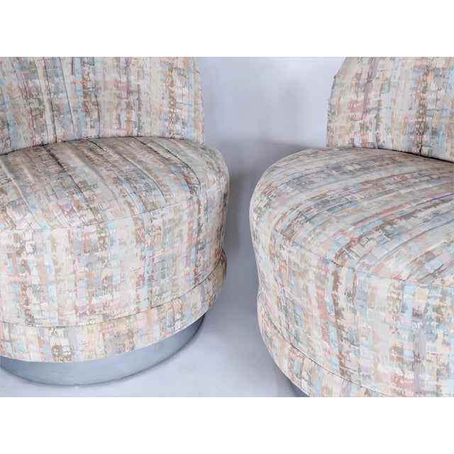 Milo Baughman Style Swivel Lounge Chairs - a Pair - Image 8 of 10