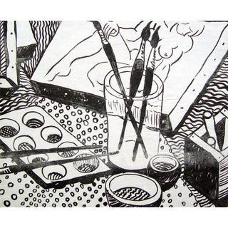 Black & White Artist Studio Lithograph