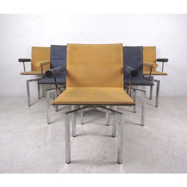 Modern Memphis Style Swivel Dining Chairs - Set of 6 - Image 3 of 11