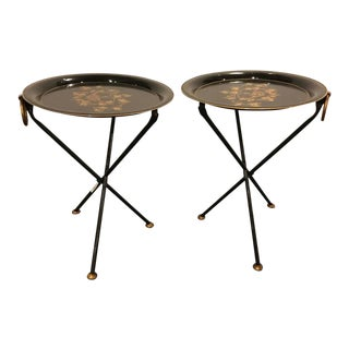 A Pair of Diminutive Paint Decorated Tole Folding Tables