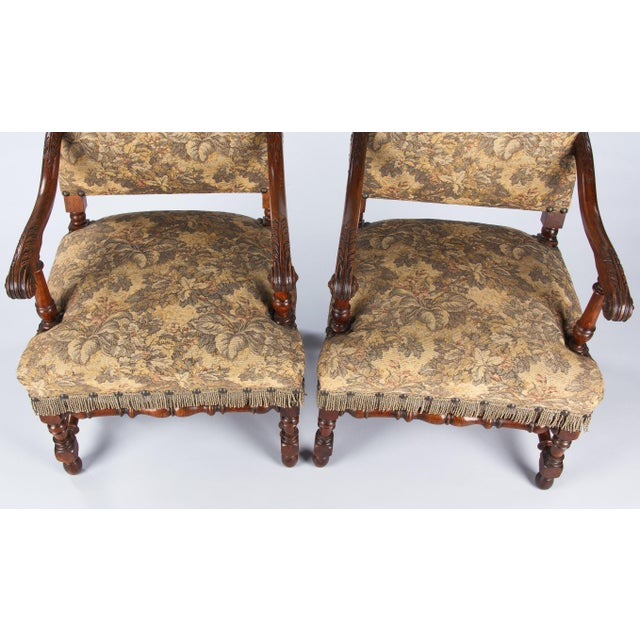 1860's French Louis XIII Style Armchairs - Pair - Image 5 of 10