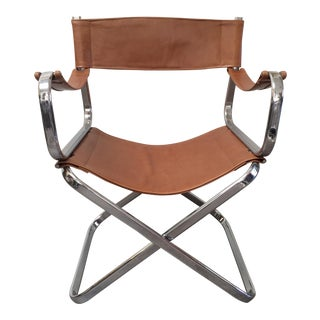 Italian Chrome / Leather Folding Chair by Arrben