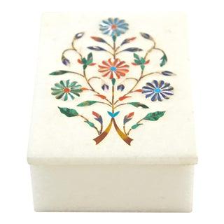 Semi-Precious Stone Floral Inlay Box
