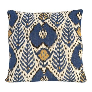Kim Salmela Woven Blue Ikat Pillow
