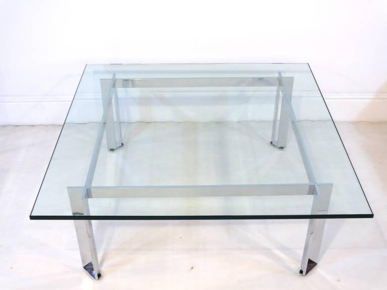 Distinguished Chrome and Glass Coffee Table in the Manner of Romeo