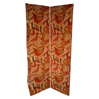 Orange Chinoiserie Fabric Screen