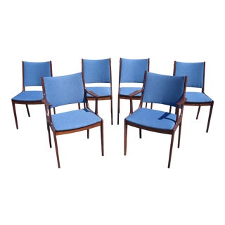 Johannes Andersen Danish Modern Rosewood Dining Chairs - Set of 6