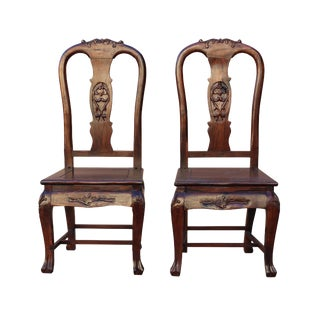 Pair Handmade Chinese Old Shanghai Design Solid Red Wood SuanZhiMu Rosewood Chair wk2601