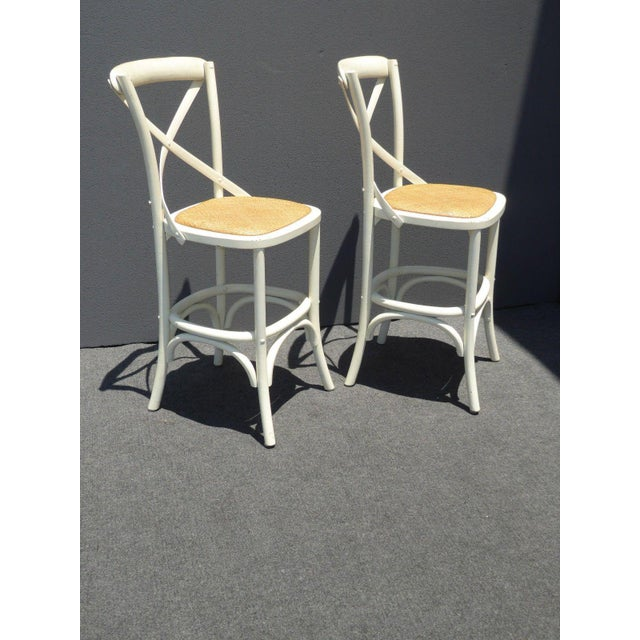 Vintage French Country White Rye Seat Bar Stools - A Pair - Image 4 of 11