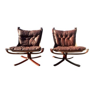 Sigurd Ressel Leather Falcon Chairs - A Pair