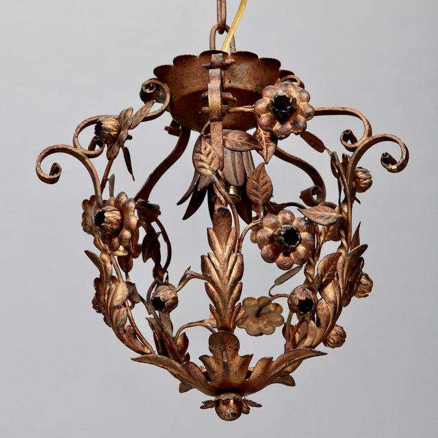 Small One Light Floral Tole Hanging Fixture - Image 2 of 6