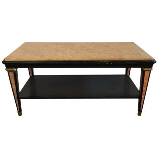 Hollywood Regency Maison Jansen Black and Gilt Marble-Top Coffee Table
