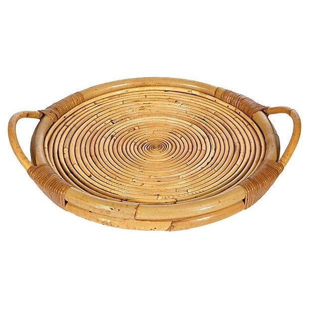 Vintage 1950s Rattan Serving Tray - Image 1 of 4