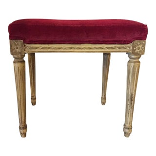 Distressed Painted Louis XVI Style Stool with Velvet Upholstery