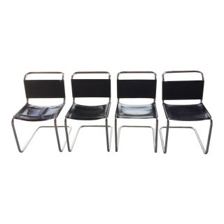 Stendig Leather & Chrome Dining Chairs - Set of 4