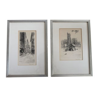 Framed City Scene Signed Sketches - A Pair