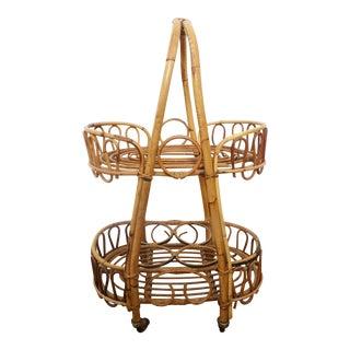 Boho Chic Bamboo Rattan Bar Cart