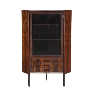 Rosewood Danish Mid-Century Modern Corner Cabinet Glass Door Three Drawers