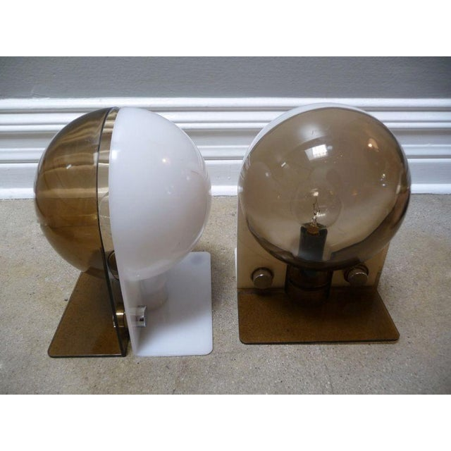 Image of Guzzini Italian Space Age Lamps Smoked & White