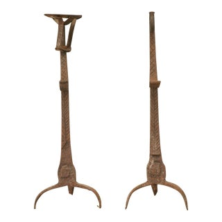Pair of Rustic 18th Century French Hand-Wrought Iron Andirons