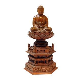 Boxwood Buddha Statue On Tall Lotus Flower Pagoda Base